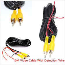 10M RCA CarAuto Reverse Rear View Parking Camera Video Cable With Detection Wire