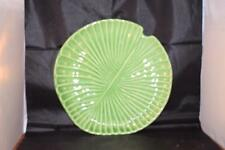 STUNNING OLFAIRE MAJOLICA POTTERY PORTUGAL LARGE GREEN WATER LILY PLATE