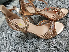 Women's Rose Gold Open Toe Strappy High Heel Sandals