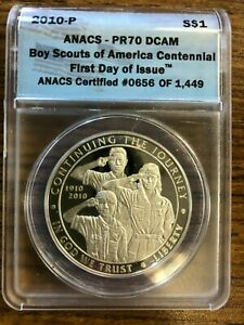2010-P $1 Boy Scouts of America ANACS MS70. 1st Day of issue