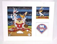 Looney Tunes Philadelphia PHILLIES Bugs Taz Daffy Baseball Litho Art White Mat