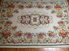 Area Rug 5x7 Floorcloth Flat Woven Tapestry Style Florals Yellow Orange Green