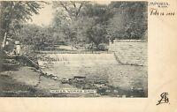 Emporia Kansas~Water Works Dam~Fellow on Tree~1906 B&W Albertype Postcard