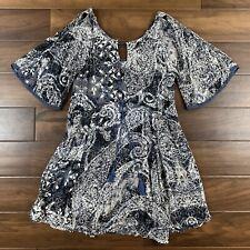 Free People Women's Size XS Indigo Love Birds Cold Shoulder Printed Mini Dress
