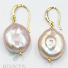 15-16mm pink Baroque Pearl Earrings 18k hook Gift Accessories TwoPin Cultured