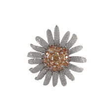 Sterling Silver Champagne CZ Flower Womens Bridal Pin Brooch