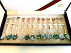 Vintage Seung Bo Korean Enamel Spoon Set 12 Spoons 5.25 inch Long Original Box