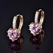 Lady Vintage Gold Filled Pink Heart Sapphire Crystal Huggie Hoop Stud Earrings