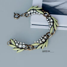 Bracele Strass Jaune Feuille Moderne Original Soirée Mariage Class CT2