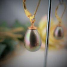 Ohrringe aus Muschelkernperlen Tropfen Glanz-Cappuccino, 925er Silber vergoldet