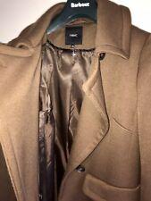 NEXT Ladies Full Length Lined Fitted Pea Coat UK10 EU38 Dark Tan Choc Brown VGC