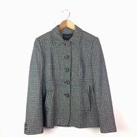 Banana Republic Women's Coat Wool Linen Blend  Size 8 Houndstooth Blue Gray G