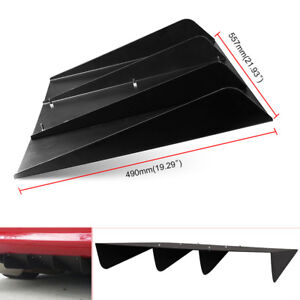 "22''X19"" ABS Textured Rear Bumper Center 4 Fins Diffuser Fin Black Universal"