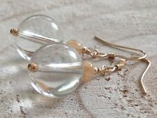 Clear Rock Crystal Quartz & Natural Citrine Gemstones 14ct Rolled Gold Earrings