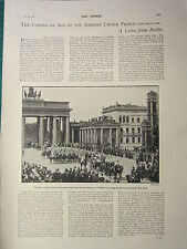1900 VICTORIAN PRINT ~ COMING OF AGE OF THE GERMAN CROWN PRINCE BERLIN