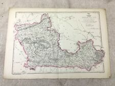 Antique Map Berkshire County England 19th Century Old Hand Coloured