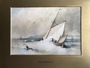 Attributed to JMW Turner RA Original 19th watercolour Fishing Off Brighton