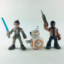 Lot of 3pcs Playskool Star Wars Galactic Heroes Last Jedi Rey BB-8 Finn Figures