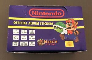 1992 Merlin Nintendo Box 100 Packets 600 Stickers Super Mario Zelda