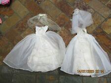Vintage Barbie Clothing, (2) Wedding Dresses w Veils