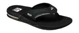 Reef Men's Fanning Bottle Opener Flip Flops - Black/Black/White NWT
