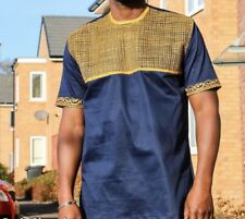 Men Blue Black And Gold African shirt
