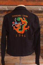 USN Shanghai China Embroidered 1946 Souvenir Shirt Jacket WWII Era Navy 40s VTG