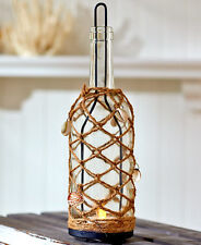 HANGING GLASS BOTTLE JUTE SHELL CANDLE HOLDER and FLAMELESS LED TEA LIGHT Beach