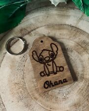 Personalised Wood Stitch Key Ring Keyring Key Chain Engraved Lilo & Stitch Gift
