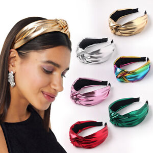 Women Bright Color PU Leather Middle Knotted Wide Headband Solid Color Head Hoop