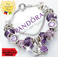 Authentic Pandora Bracelet Silver Purple Heart MOM Flower with European Charms