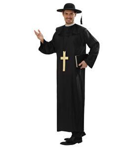 Black Priest Vicar Religious Men Fancy Dress Costume Inc. HAT & Cross M + L