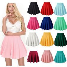 Moxeay Women Basic A Line High Waisted Stretch Flared Pleated Plain Skater Skirt
