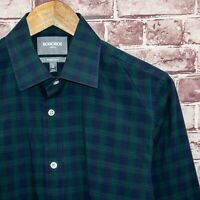 BONOBOS Stretch Men's Tailored Slim Fit Button Front Shirt Green Blue Plaid