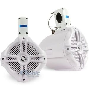 "POWER ACOUSTIK 750W 8"" Marine Wake Tower Speaker Enclosure (White) 