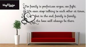 No family is perfect vinyl wall art quote for living room/hallway walls