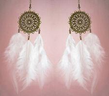 F1391F White Feather Earrings Sun Chandelier Eardrop Fashion Handmade Jewelry