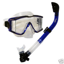 Scuba Dive Panoramic Tri-View Purge Mask with Dry Snorkel Package Gear Set
