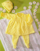 "Baby Matinee Coat Picot Edge Leggings Bonnet Blanket DK 14""-18"" To Knit"