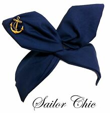 Rockabilly wire headband Nautical Sailor Navy Blue w/ Gold Anchor