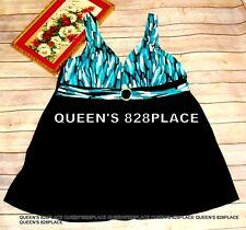 Inches Off Women's Black Teal Print Swimsuit Swim dress One PC Plus Size 20W 2X