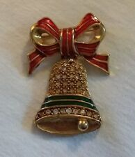 Decorative Christmas Pin Vintage 1980's Red Green Merry Bell