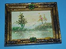 """Picture Miniature 4""""x5"""" Birds Flowers Water Trees Shimmering Wood Frame Painted"""