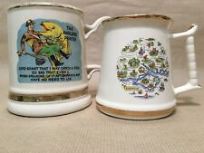 2x Vintage Prince William Tankard Warranted 22 Ct Gold Anglers Prayer Hampshire