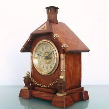 Antique German JUNGHANS Alarm Clock Mantel FULLY RESTORED! 1910s Cabin Shaped!