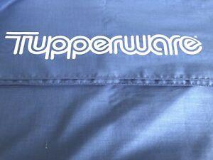 "Tupperware Tablecloth 43"" x 70"" Rectangle Vintage Blue w/ Logo"