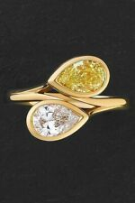 14k Yellow Gold over 925 Sterling Silver Yellow White Pear Fine Ring for Women