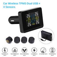 Digital TPMS Tire Pressure Monitor System Dual USB 4 Sensors U906 For Ford Lexus