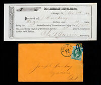 3¢ WASHINGTON BANK NOTE ON ORANGE COVER WITH INSURANCE RECEIPT CHICAGO IL 1873