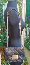 MICHAEL KORS Black Quilted Leather Satchel Bag with Chain Strap